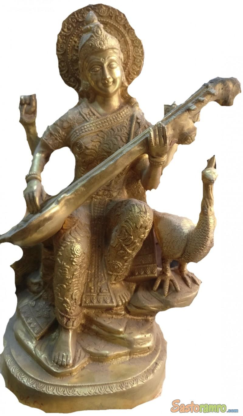 Brass Saraswati 12 Inch (1 Ft)