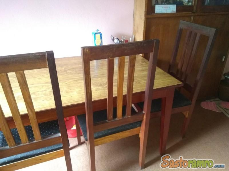 Wooden Table + 4 Chairs