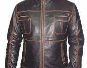 Black Antique Sheep Nappa Leather Jacket with Spirit Wash in Edge