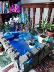 Water fall fish pond